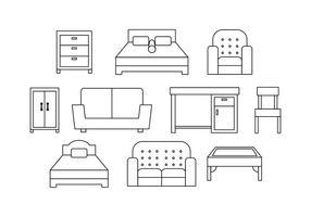 Ícone de ícones de linha de mobiliário grátis vetor