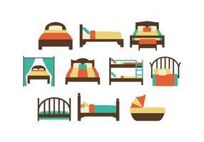 Vetor de ícones de cama colorida grátis
