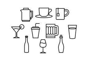 Vetor de ícones de linha de bebidas grátis