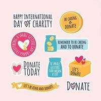 conjunto de adesivos de doação e caridade vetor