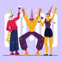 celebração de ano novo à meia-noite com amigos vetor