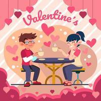 encontro de café romântico dia dos namorados vetor