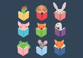 Conjunto de animais lendo um livro vetor
