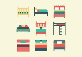 Conjunto colorido de camas vetor