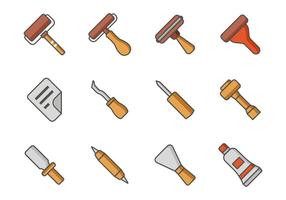 Livre Lithograph Tools Icons Vector