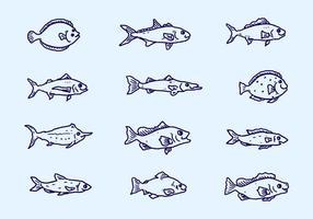 Vetor de coleção de peixe esboço