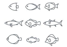 Ícones de peixes lineares vetor