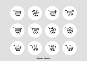 Ícones do desenho vetorial do carrinho do supermercado vetor
