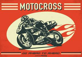 Cartaz retro do vetor de Motorcross