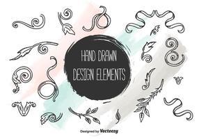 Elementos de design desenhados à mão vetor