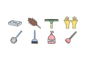 Conjunto de ícones do serviço de limpeza vetor