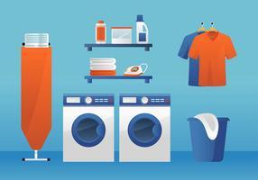 Quarto de lavanderia Mesa de passar roupa Vector grátis