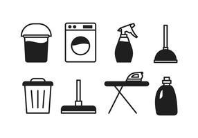 Ícones do serviço de limpeza vetor