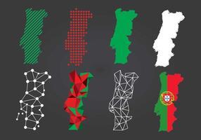 Mapa de muitos tipos de Portugal vetor