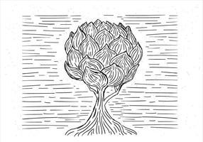 Árvore desenhada mão desenhada à mão vetor