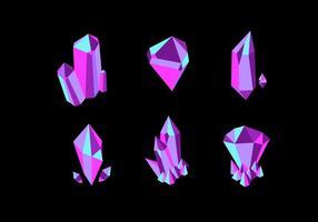 Coleção de vetores de cristal de quartzo