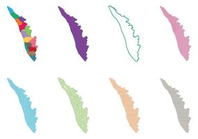 Mapa de Kerala Índia vetor