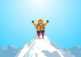 Montanhista no topo do vetor Matterhorn