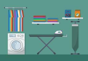 Tábua de passar roupa com ilustração vetorial de lavanderia