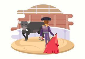 Matador lutando com um touro vetor