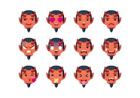 Conjunto do Emoticon do Diabo vetor