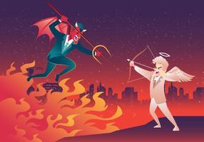 Lucifer Versus Angel Fight Vector