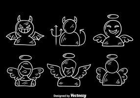 Esboço de anjo e vetor do diabo