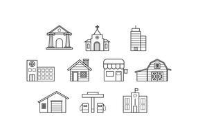 Vector de Ícones de Linha de Edifícios Grátis