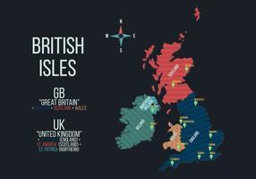 Ilustração do vetor do mapa das ilhas britânicas
