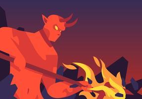 Lucifer e vetor de garfo ardente