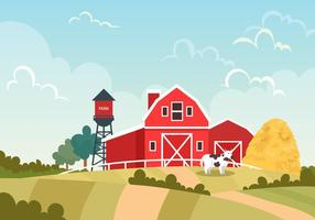 Celeiro vermelho na cena do vetor da fazenda