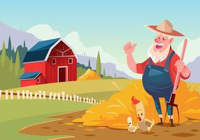 Farmer at Red Barn Vector Scene