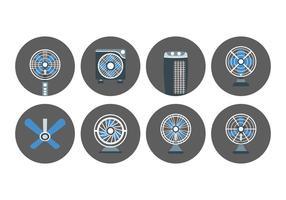 Ícones de conjunto de ventilador e ventilador vetor