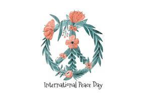 Construção do símbolo da paz da aguarela com folhas e flores vetor