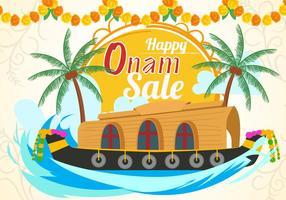 Happy Onam Sale Com Barco De Kerala vetor