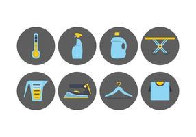 Ícones de lavanderia e lavagem vetor