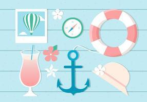 Elementos de tempo de verão do vetor de design grátis
