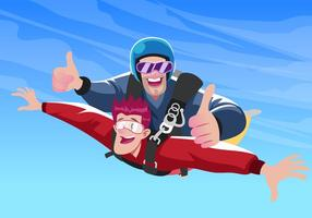 Skydiving Sport Vector Scene
