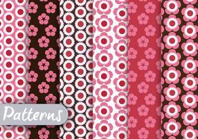 Conjunto de padrões florais vermelhos