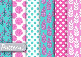 Conjunto de padrões florais rosa e azul vetor