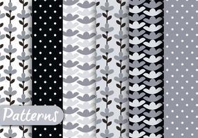 Conjunto de padrões florais preto e branco vetor