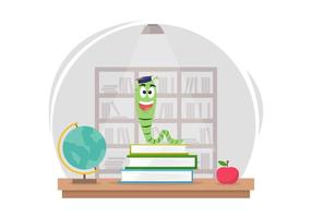 Free Bookworm Cartoon na biblioteca vetor