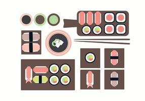 Placas de sushi de vetor