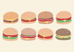 Hambúrgueres desenhados a mão de vetores