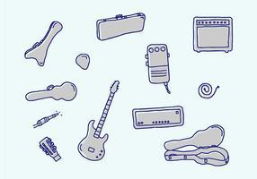 Guitarra e ícones vetoriais relacionados vetor