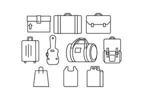 Ícone grátis do ícone da linha da bagagem vetor