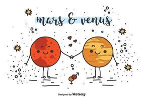 Fundo do vetor de Marte e Venus