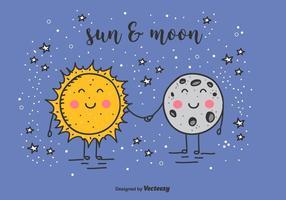 Fundo do vetor do sol e da lua