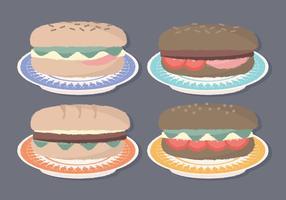Sanduíches desenhados a mão com vetor