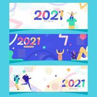 Banner de feliz ano novo em geometria 2021